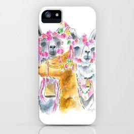 Happy alpacas watercolor iPhone Case