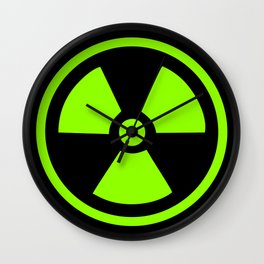Green Radioactive Symbol Wall Clock