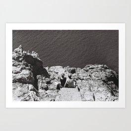 Couple and the infinite sea Art Print