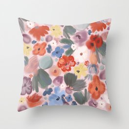 Abstract mix flowers beautiful soft colored oil brush pattern pink background Throw Pillow