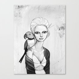 melancholy girl with parrot and feathers Canvas Print