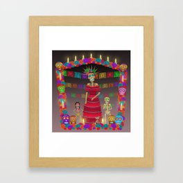 Purple Gray Ómbre Day of the Dead Framed Art Print