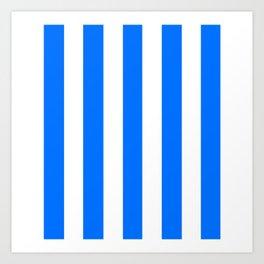 Brandeis blue - solid color - white vertical lines pattern Art Print