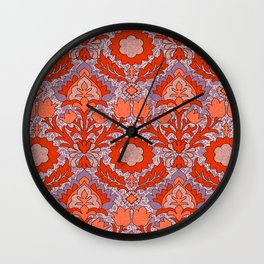 Trendy Shabby Chic Purple Coral Floral Damask Pattern Wall Clock
