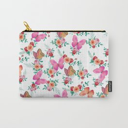 Pink watercolor bohemian roses flowers butterfly Carry-All Pouch
