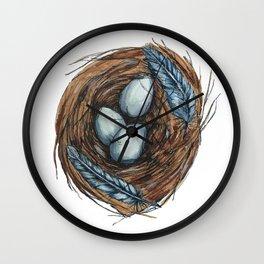Blue Bird Nest Wall Clock