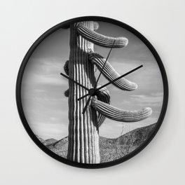 Desert Sentinel, Black and White Cactus Decor by Murray Bolesta Wall Clock