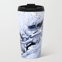 Handmade marble blue texture. Travel Mug