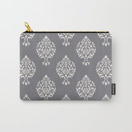 Orna Damask Pattern Cream on Grey Carry-All Pouch