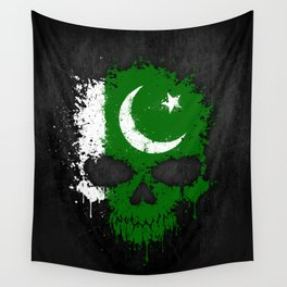 Flag of Pakistan on a Chaotic Splatter Skull Wall Tapestry
