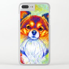 Colorful Long Haired Chihuahua Dog Clear iPhone Case