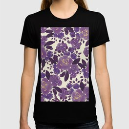Elegant ivory gold lavender purple watercolor floral  T-shirt
