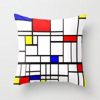 mondrian Throw Pillows featuring Mondrian inspired by Steve W Schwartz Art