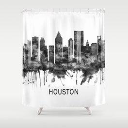 Houston Texas Skyline BW Shower Curtain