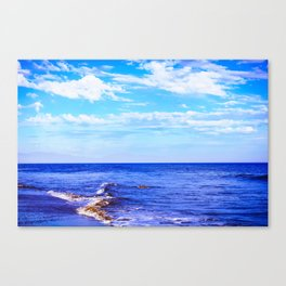 blue ocean view with blue cloudy sky in summer Canvas Print