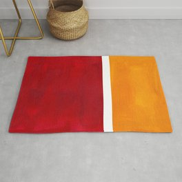 Burnt Red Yellow Ochre Mid Century Modern Abstract Minimalist Rothko Color Field Squares Rug
