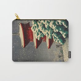 Japanese Woodblock Print Winter Snow Red Pagoda Green Tree Beautiful Composition Carry-All Pouch