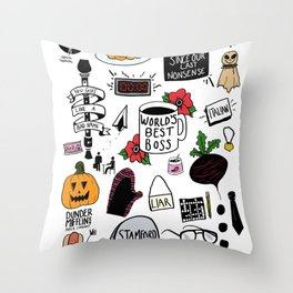 The Office doodles Throw Pillow