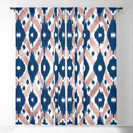 Artsy Modern Rose Gold Navy Blue Ikat Geo Blackout Curtain