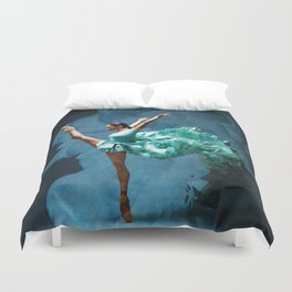 -O1- Blue Ballet Dancer Deep Feelings. Duvet Cover