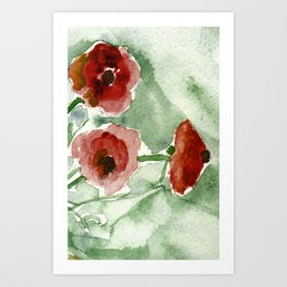 Poppies - watercolor painting Art Print