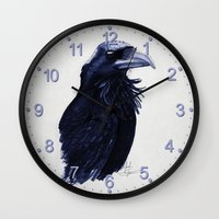 raven Wall Clocks featuring .Raven by Isaiah K. Stephens