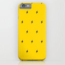 Black Lightning Bolt pattern on Yellow background iPhone Case