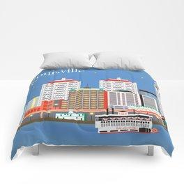 Louisville, Kentucky - Skyline Illustration by Loose Petals Comforters