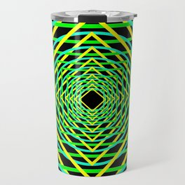 Diamonds in the Rounds Blacklight Neons Yellow Greens Travel Mug