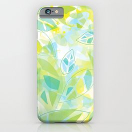 watercolor inspired leaves, spring palette iPhone Case
