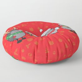 Christmas hedgehogs Floor Pillow
