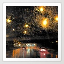 Rainy Night Commute Art Print