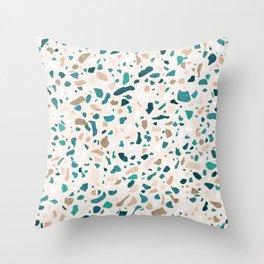 Terrazzo Turquoise Pattern Throw Pillow
