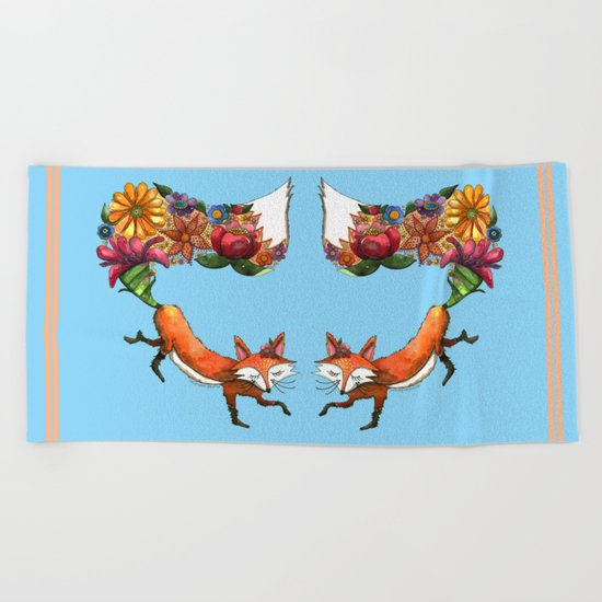Hunt Flowers Not Foxes Beach Towel
