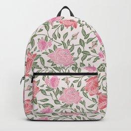 Modern Vintage Chic Blush Pink Forest Green Floral Backpack