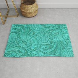 Turquoise Tooled Leather Print Rug