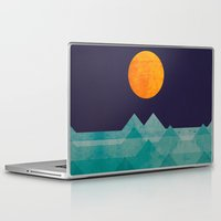 ocean Laptop & iPad Skins featuring The ocean, the sea, the wave - night scene by Picomodi