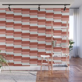 Staggered Oblong Rounded Lines Pantone Living Coral Illustration Wall Mural