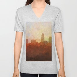 Cleveland, Ohio Skyline - In the Clouds Unisex V-Neck