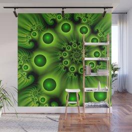 Green Fractal, Modern Spiral With Depth Wall Mural