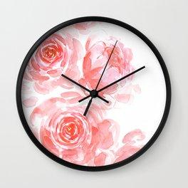 Dreamy pink watercolor peonies Wall Clock