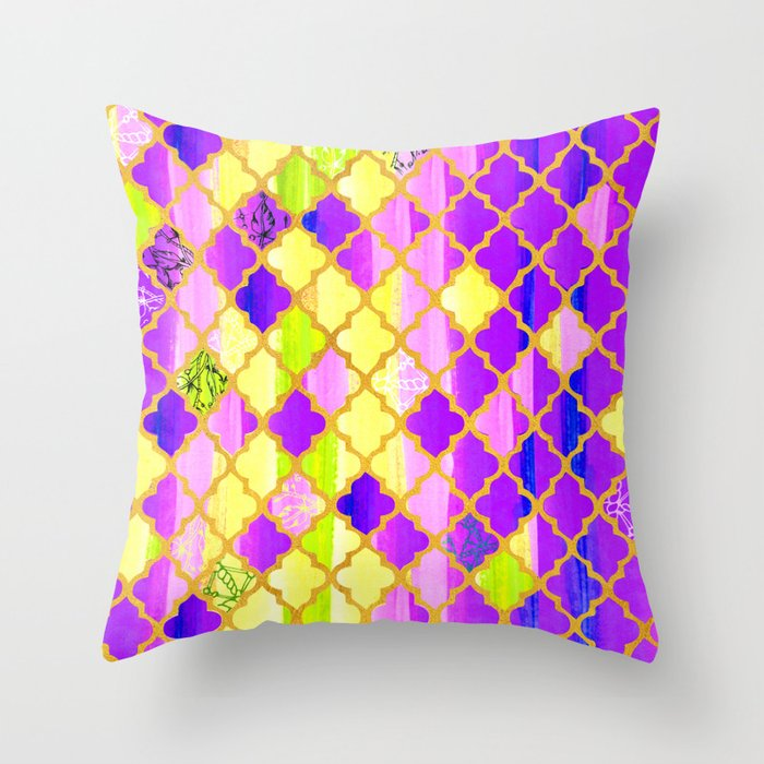 Moroccan Tile Pattern In Purple And Yellow Throw Pillow