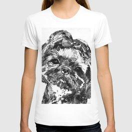 Shih Tzu Dog Art In Black And White by Sharon Cummings T-shirt