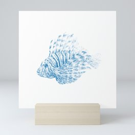Lionfish - Pterois volitans (blue with scientific name) Mini Art Print