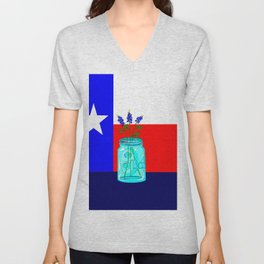 A Texas Flag and Blue Bonnets in a Jar Unisex V-Neck
