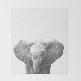 Black and White Baby Elephant Throw Blanket