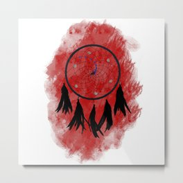Dreamcatcher crow: Red background Metal Print