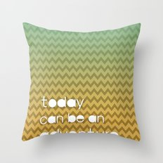 Today Can Be An Adventure Poster Teal Yellow Chevron Throw Pillow