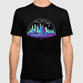 Futuristic City Pixel Art T-Shirt