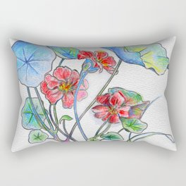 Nasturtium watercolor by artist Audrey Gaines. Rectangular Pillow